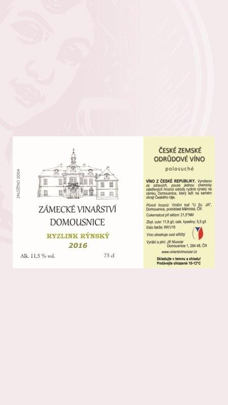 Ryzlink rýnský, zemské 2016, Zámecké Vinařství Domousnice Zámecké vinařství Munzar Domousnice